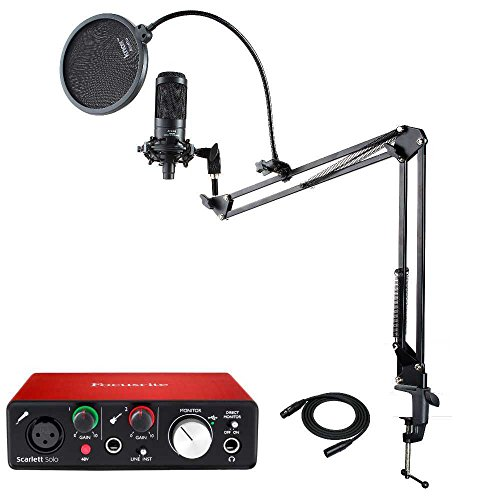 - Audio Technica AT2035 Microphone with Focusrite Scarlett Solo USB Audio interface (2nd Gen), Knox Mic Desktop Boom Arm, Pop Filter & XLR Cable
