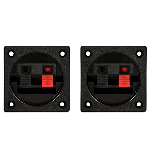 Loaded Speaker Cabinet - Goldwood Sound Speaker Box Terminal Cups 2 Square Power Speaker Terminal Plates Black (SCT-1000-2)