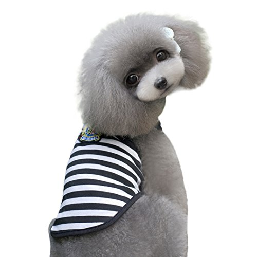 Binmer(TM)New Pet Dog Clothes Leisure Wide Stripes Dog T-shirt Doggy Embroidery Breathable Dog Vest (Black, M)