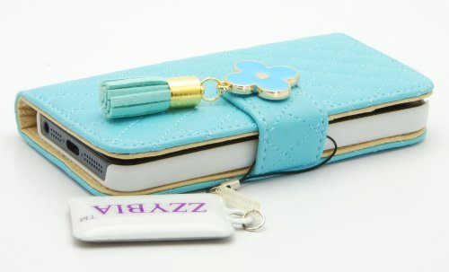 ZZYBIA® IP5 QF blu Light Blue Leatherette Stand Case Card Holder Wallet for Apple Iphone 5 5s