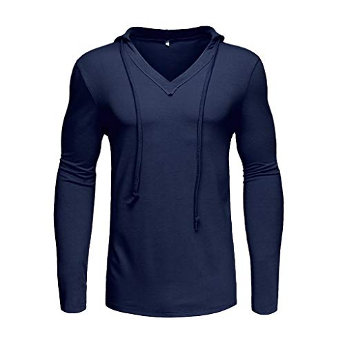 - Yihaojia Men Blouse Mens Slim Fit Long Sleeve Hooded T-Shirt Casual Hipster Pullover Sweatshirt (XXL, Navy)