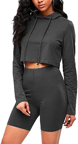 Sofkiny Womens Two-Piece Hoodie Crop Top with Biker Shorts Set Long Sleeve Drawstring Tracksuits