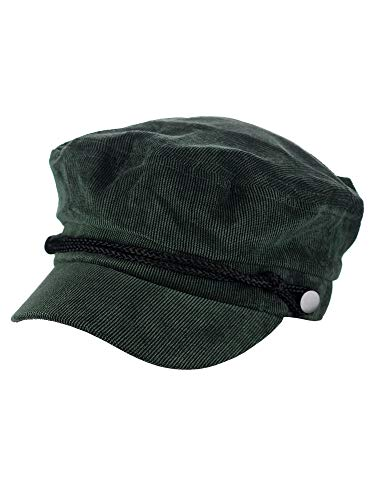 D&Y Solid Corduroy with Rope Detailed Fisherman Cabbie Newsboy Cap, Olive