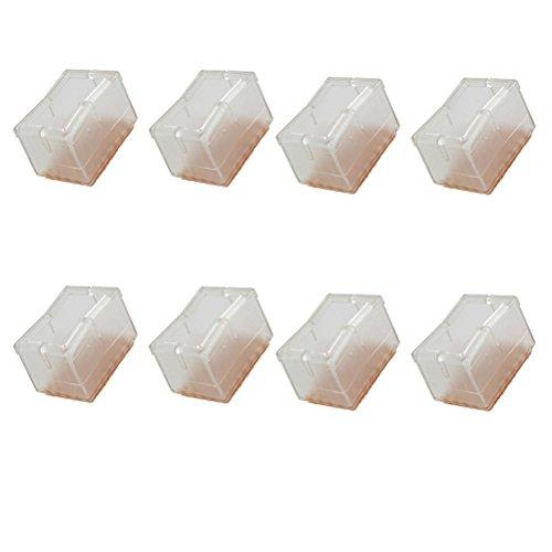 OUNONA 8pcs Rectangular hair Leg Caps Feet Pads Table Covers Wood Floor Protectors