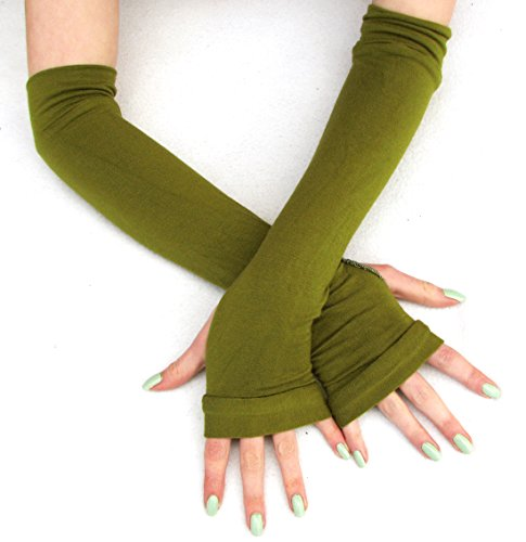 Solid Olive Green Bamboo Arm Warmers Eco-Friendly]()