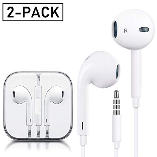 Deepcomp Earphones, Earbuds Stereo Headphones Compatible with Apple iPhone 6S 6 Plus 5S 5 SE 5C iPod iPad 2Pack(White)