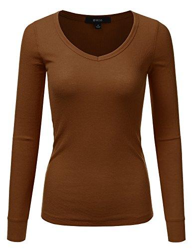 DRESSIS Womens Long Sleeve Basic Lightweight Slim Fit V-Neck Thermal Top