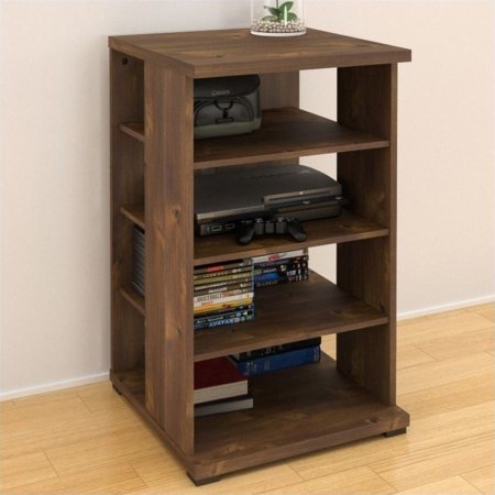 Stationary Media Cabinet - Practical Truffle Media Cabinet with 3 Adjustable Shelves and One Stationary, Sturdy Wood Construction, European Cam-lock Construction + Expert Home Guide by Love US