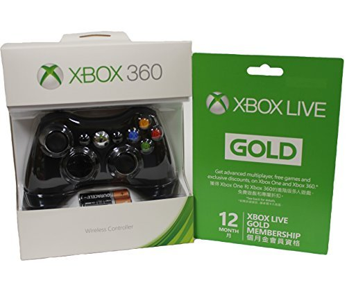 Xbox 360 Wireless Controller - Glossy Black and Microsoft Xbox LIVE 12 Month Gold Membership (Xbox Live 12 Month Gold Card Cheap)