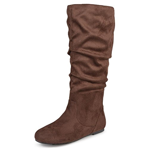 Journee Collectie Dames Breed Kalf Slouch Microsuede Laarzen Bruin 10 Breed Kalf