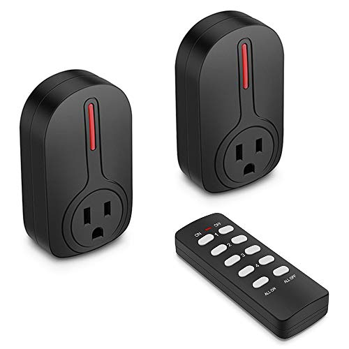 BESTTEN Wireless Remote Control Outlet Switch Set (2 Outlets, 1 Remote) with 110-Foot Range, Learning Code, Home…