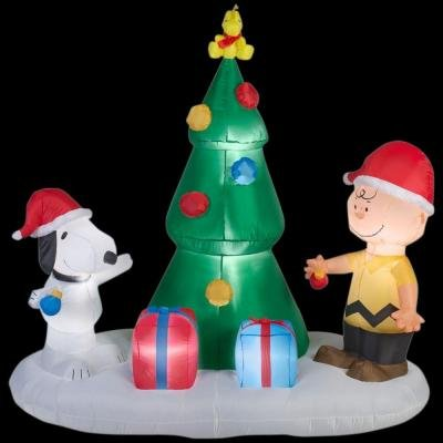 59.84 in. W x 37.40 in. D x 72.05 in. H Lighted Inflatable Snoopy and Charlie with Christmas Tree Scene