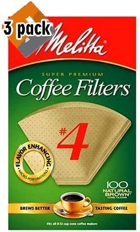 Melitta Cone Coffee Filters, Natural Brown #4, 100 Count, 2 Pack