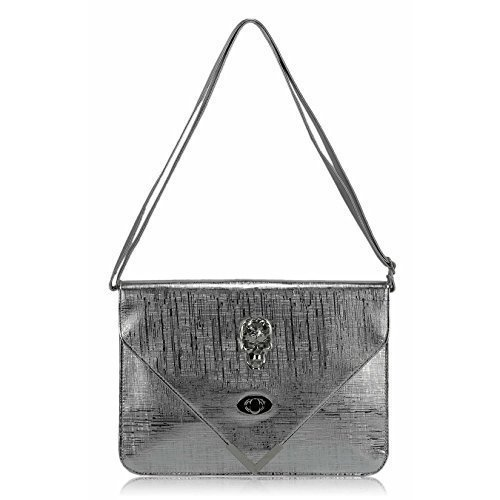 TrendStar - Cartera de mano para mujer Large Plata - Silver Envelope Clutch Bag