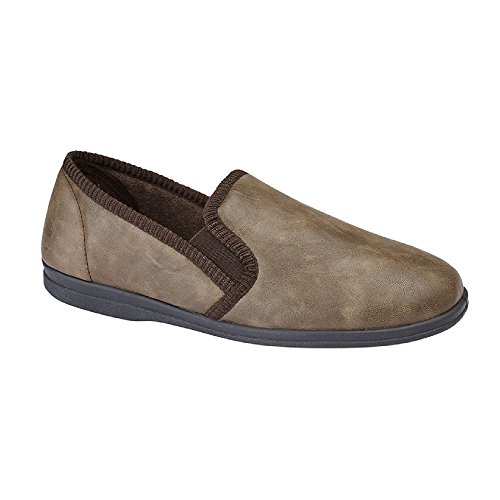Sleepers Mens Eric Classic Plain Slippers Brown 9A7bSXvQ7n