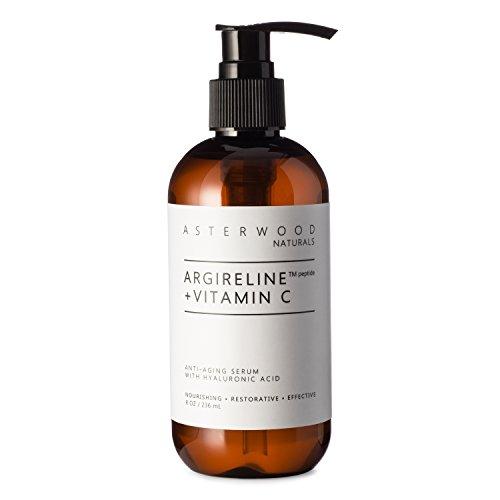 ARGIRELINE Peptide + Vitamin C 8 oz Serum with Organic Hyaluronic Acid - Anti Aging, Amazing Sun Damage Repair & Botox Alternative - ASTERWOOD NATURALS - Pump Bottle