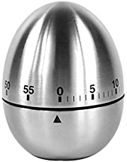 FITULABO Kitchen Manual Timer, Classic Egg Shaped Cooking and Baking Countdown Rotating Alarm Tools, 60 Minutes (Stainless Steel)