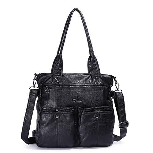 (Angelkiss Women Top Handle Satchel Handbag Shoulder Bag Washed PU Leather Purses and Handbags )
