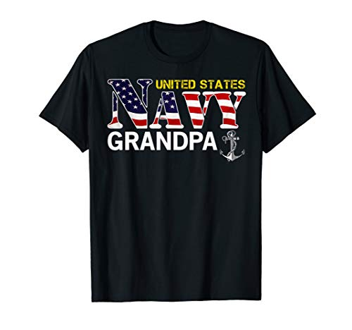- United States Flag American Navy Grandpa T-Shirt Veteran Gif