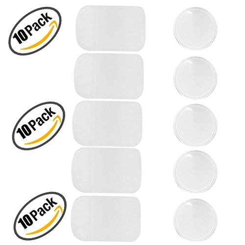 10 Packs Anti-slip Gel Pads Viaky Fixate Sticky Cell Pads Non-slip Gel Mat Sticky Auto Gel Holder,Can Stick to Cellphone, Pad, Keys ,Glass, Mirrors, Whiteboards, Metal (Clear)