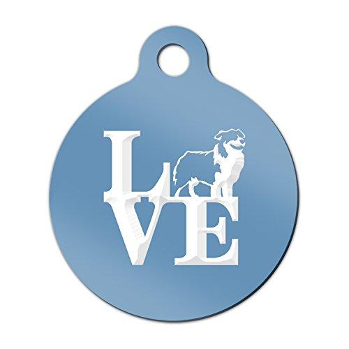 (Love Australian Shepherd Engraved Keychain / Round Tag with Tab Mister Petlife park aussie Light Blue )