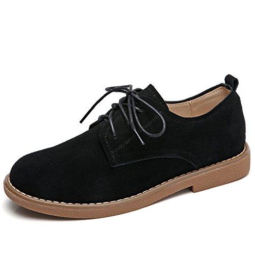 Stq Donna In Pelle Scamosciata Stringate Oxford Scarpe Moda Low-top Mocassino Piattaforma Blocco Tacco Ufficio Sneakers Nero