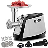 F2C Electric 3 IN 1 Meat Grinder Mincer Food Chopper Pasta Maker 1000W Max with 3 Grinding Plates, 3 Sausage Stuffer Tubes, Blades& Kubbe Attachment for Home Kitchen Commercial Use Stainless Steel