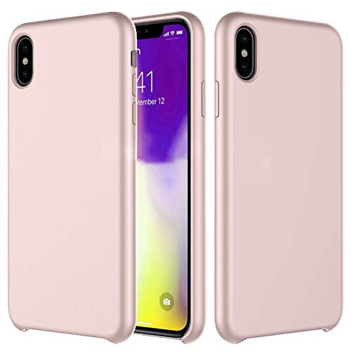Liquid Silicone Case Compatible with iPhone Xs/X (5.8 inch) (2018), Gel Rubber Protection Shockproof Protective Phone Cover Case with Anti-Scratch Microfiber Lining Drop Protection Case Shell-Pink