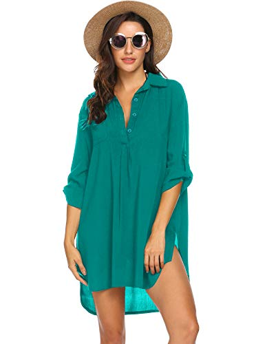 Ekouaer Women's Cover Up Shirt Swimsuit Beach Bikini Beachwear Bathing Suit S-3XL