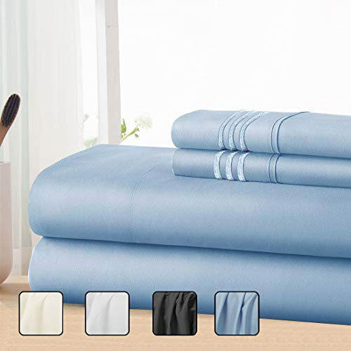 COHOME King Bed Sheets Set 4 Piece, Microfiber 1800 Thread Count Luxury Egyptian Sheets-Stain Wrinkle Fade Resistant, Hypoallergenic 16 inch Deep Pocket Bedding Set (Blue)