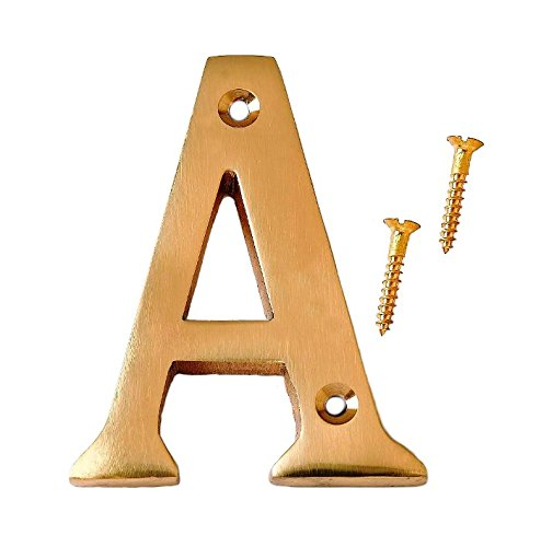 Bulk Hardware BH04279 Solid Brass Polished and Lacquered Letter A, 75 mm, 3 inch ()