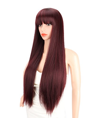 Kalyss 28 inches Women's Silky Long Straight Mixed 99J Burgundy color Heat Resistant Yaki Synthetic Wig with Bangs Darily Party Dress Women Wigs (Burgundy) -