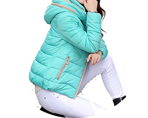 Jacket Women Autumn Coats Solid Hooded Cotton Padded Jacket Women's Coats,Light Blue,M