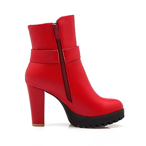 AllhqFashion Womens Low Top Solid Zipper Round Closed Toe High Heels Boots with Charms Red X8r5a8n4