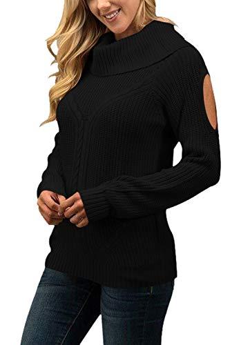 Sovoyontee Women Wide Mock Neck Open Shoulder Sweater Black XL ()