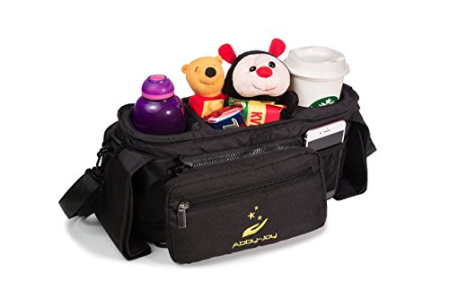 Stroller Organizer Bag with Cup Holders Accessories| Including adjustable shoulder strap and one stroller Hook| Extra-large storage space for cell-phones, keys, toys, diapers.. by Abby-Joy