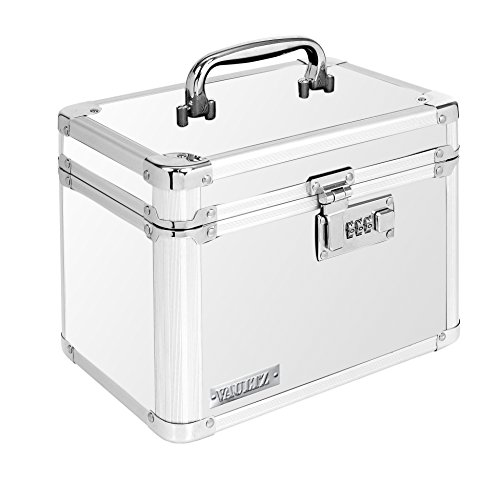 Vaultz Locking Personal Security Box, 10 x 7 x 7 Inches, White (VZ00171) (Ideastream Vaultz Cash Box)