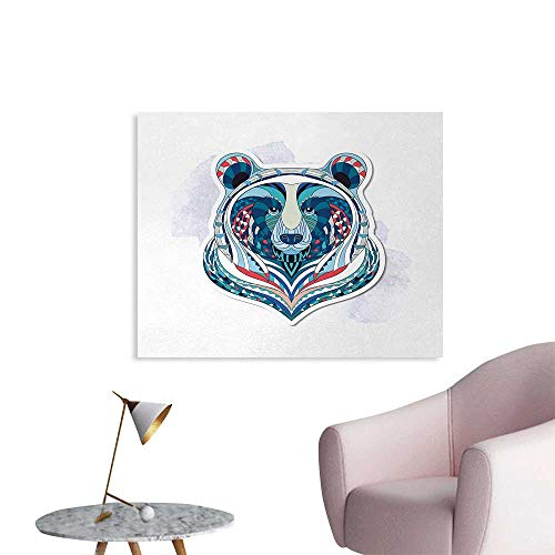 Tudouhoho Bear Cool Poster African Asian Totem Tattoo Design Patterned Portrait on Grunge Backdrop Wall Picture Decoration Blue Coral Pale Blue W36 -