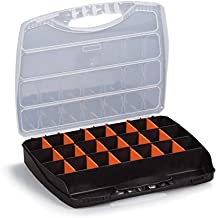 "Storage Box Plastic Organizer | Containers with Clear Lids and Adjustable Compartments for Organizing Small Parts or Hardware 12"" x 15"" x 2 1/2"""
