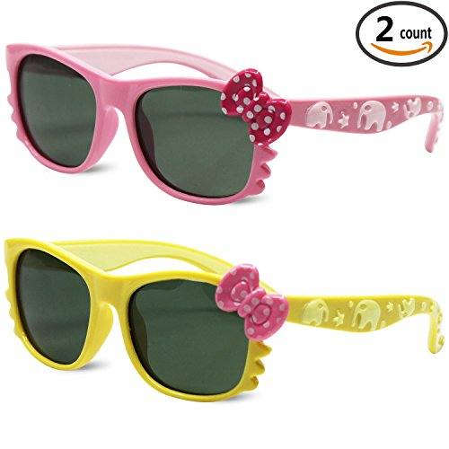Sunggles Kids Polarized Cat Eye Sunglasses for Girls Age 3 to 10,Pack of 2 (Yellow+Pink, - Black Pink Girl Glasses