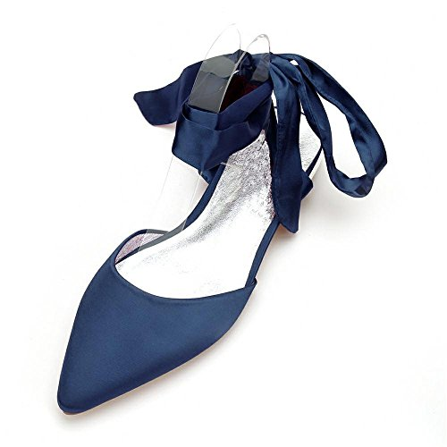 de Temperament Bleu Duoai suggestion femme Name Soirée câble de mariage soie satin Yuan bottes Banquet Lien de foncé plat Chaussures noeud Chaussures pour Chaussures femme en pour Chaussures tendance BBp5qr