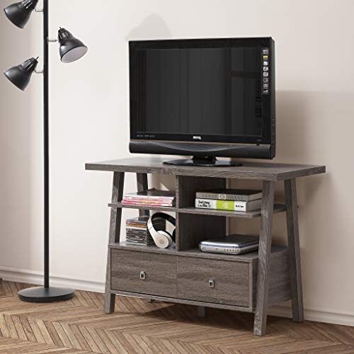 Weathered Grey Reclaimed-Look Finish TV Console Entertainment Stand with Two Drawers and Open Shelves Console Sofa Table