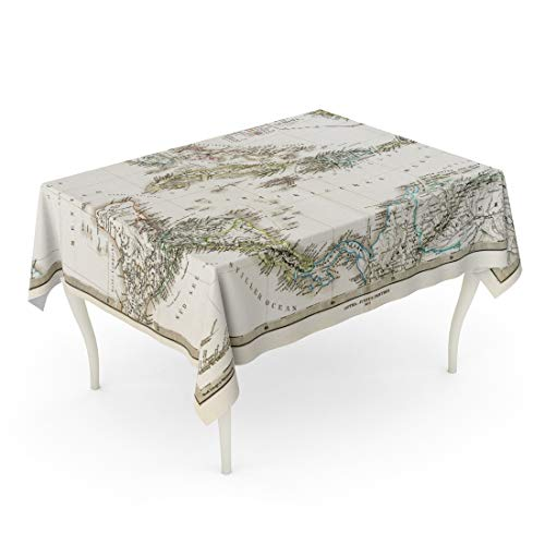 Emvency Rectangle Tablecloth 60 x 102 Inch Caribbean 1875 Antique Stieler Map of West Indies Florida Old Vintage Bahamas Haiti Table Cloth