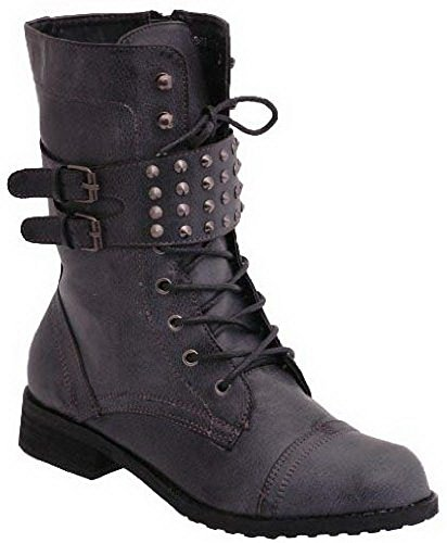 Combat Dirty EyeCatchShoes Army Studded Style 4 Boots Womens Black Biker Military Size wqqSfR4n