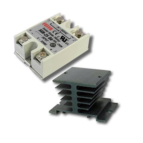 25A SSR DC-AC Solid State Relay w/ Heatsink by Lightobject