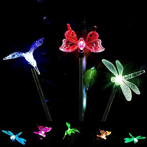 (Pack of 3)Outdoor Solar Garden LED Light, Solar Powered Garden Stake Light Chameleon Multi-color Changing LED Light,(Butterfly, Hummingbird, Dragonfly)