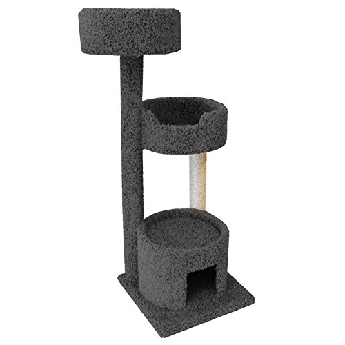 1 Piece Grey Large 52 Inches High Comfort Scratcher Cat Condo, Gray Color Pet Tree Round Perch Bed Kitty House, Unique Cozy Relax Durable Stable Lounge Roof Plush Carpet, Sisal Rope Wood