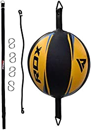 RDX Double End Speed Ball Leather Boxing Speed Bag MMA Dodge Ball Punching Training Floor to Ceiling Rope Work