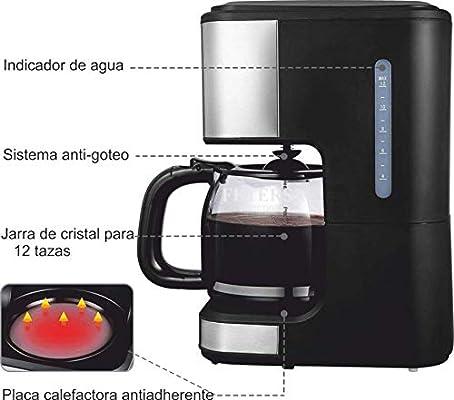 Cafetera de Goteo eléctrica Capacidad de 12/15 Tazas, 1.5 L ...