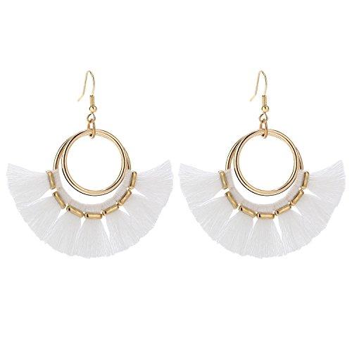 Yarn Earrings - BaubleStar Fan Tassel Hoop Earrings Gold Dangle White Fringe Drop Thread Tiered Layered Earring for Women Teen Girls B078W